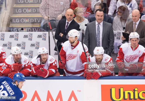 Detroit Red Wings head coach Jeff Blashill watches the action during the third period in a game against the Toronto Maple Leafs at Air Canada Centre...