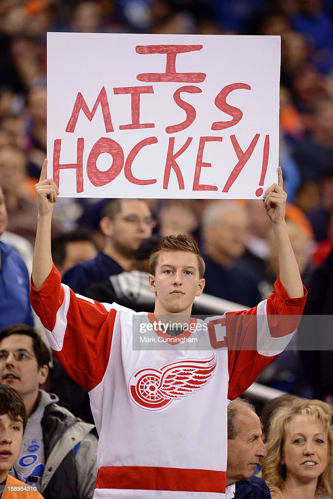 A Detroit Red Wings hockey fan holds up a sign during the game between the Detroit Lions and the Chicago Bears at Ford Field on December 30, 2012 in Detroit, Michigan. The Bears defeated the Lions 26-24.