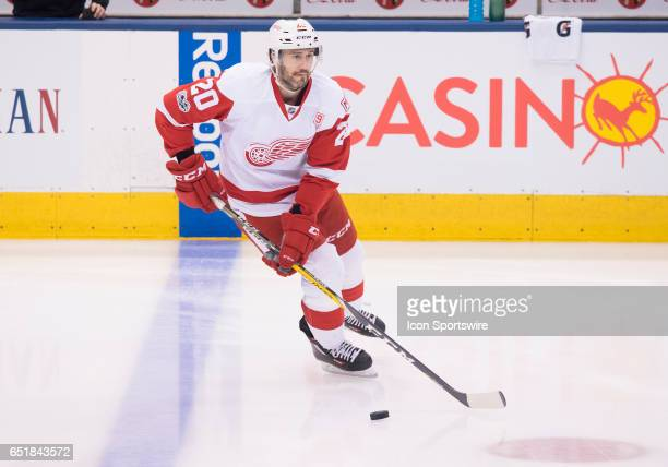 Detroit Red Wings left wing Drew Miller skates during the warm up before a game against the Toronto Maple Leafs at Air Canada Centre in Toronto...