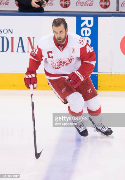 Detroit Red Wings left wing Henrik Zetterberg skates during the warm up before a game against the Toronto Maple Leafs at Air Canada Centre in Toronto...