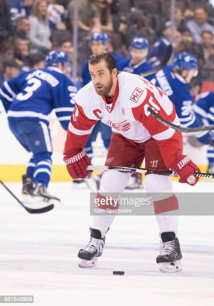 Detroit Red Wings left wing Henrik Zetterberg stretches during the warm up before a game against the Toronto Maple Leafs at Air Canada Centre in...