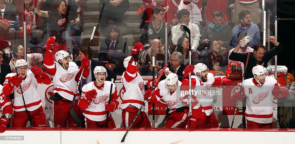 Detroit Red Wings players celebrate their 5-4 overtime win against the Anaheim Ducks in Game Two of the Western Conference Quarterfinals during the 2013 NHL Stanley Cup Playoffs at Honda Center on May 2, 2013 in Anaheim, California.