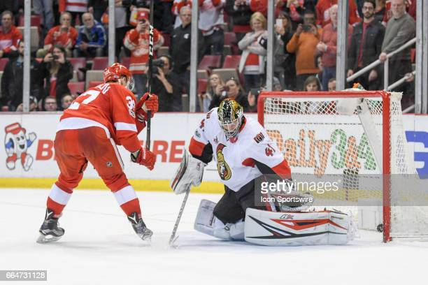 Detroit Red Wings right wing Evgeny Svechnikov playing in his first NHL game scores the game winner during the shootout period for a 54 victory in...