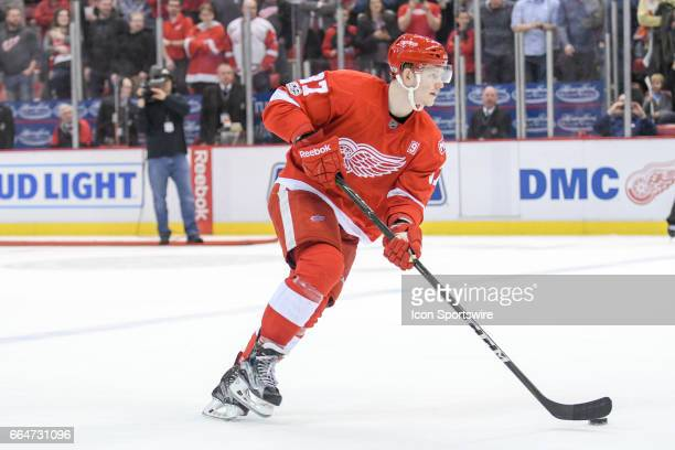 Detroit Red Wings right wing Evgeny Svechnikov takes his turn during the shootout period in the NHL hockey game between the Ottawa Senators and...