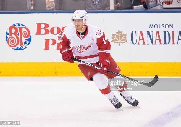 Detroit Red Wings right wing Gustav Nyquist skates during the warm up before a game against the Toronto Maple Leafs at Air Canada Centre in Toronto...