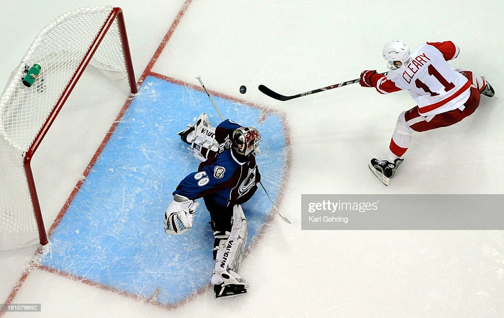 AVS_WINGS Detroit right wing Dan Cleary had a good chance against Avalanche goalie Jose Theodore in the third period The Colorado Avalanche lost to...