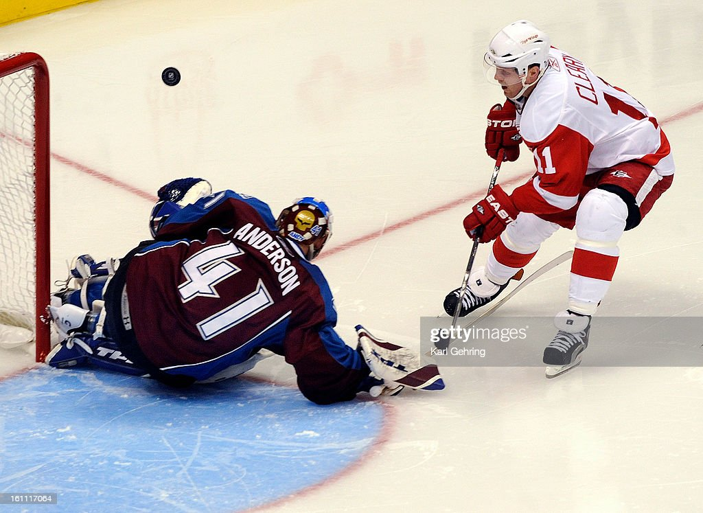 Detroit right wing Dan Cleary was denied by Avs goalie Craig Anderson in the second period The Colorado Avalanche hosted the Detroit Red Wings at the...