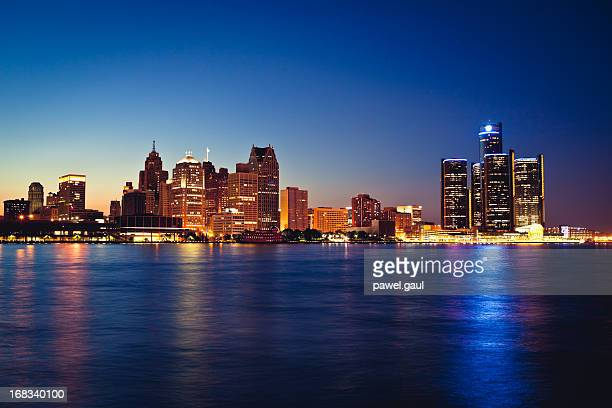 Detroit skyline by night