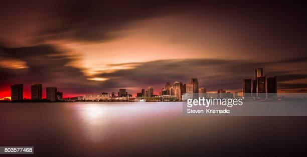 Detroit Skyline Long Exposure at Dusk