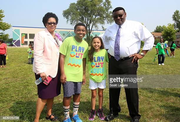 Detroit Superintendent of Academics Karen P Ridgeway The Haunted Hathaways actors Curtis and Breanna and Detroit Deputy Mayor Isaiah McKinnon attend...