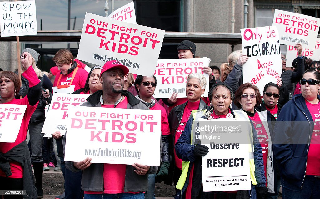 Detroit teachers stage a sick-out for the second day in a row and protest in front of Detroit Public Schools headquarters, causing 94 of the 97 Detroit school districts to close, May 3, 2016 in Detroit, Michigan. The teachers are looking for a guarantee that they will be paid for the work they perform.