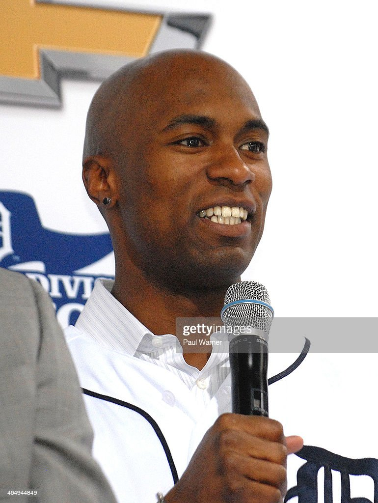 Detroit Tiger Austin Jackson attends the Detroit Tigers winter caravan tour stop at the North American International Auto Show at Cobo Hall on January 24, 2014 in Detroit, Michigan.