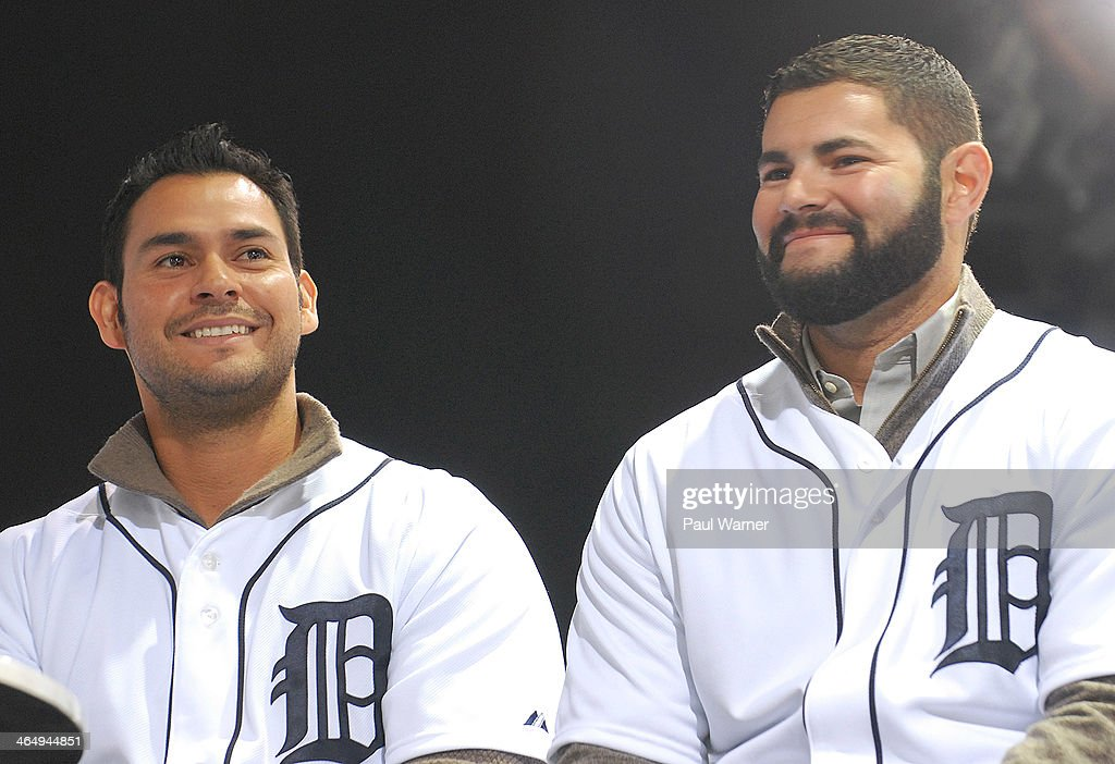 Detroit Tigers Anibal Sanchez (L) and Alex Avila attend the Detroit Tigers winter caravan tour stop at the North American International Auto Show at Cobo Hall on January 24, 2014 in Detroit, Michigan.