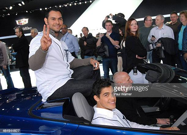 Detroit Tigers Anibal Sanchez and Kyle Lobstein attend the Detroit Tigers winter caravan tour stop at the North American International Auto Show at...