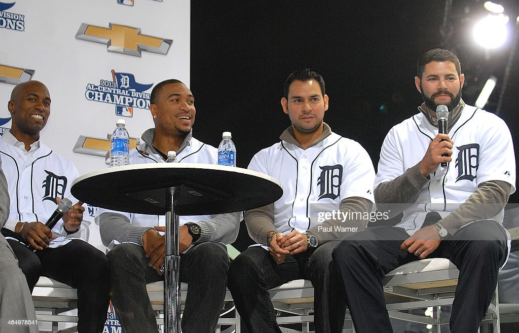 Detroit Tigers <a gi-track='captionPersonalityLinkClicked' href=/galleries/search?phrase=Austin+Jackson&family=editorial&specificpeople=608633 ng-click='$event.stopPropagation()'>Austin Jackson</a>, Daniel Fields, <a gi-track='captionPersonalityLinkClicked' href=/galleries/search?phrase=Anibal+Sanchez&family=editorial&specificpeople=748372 ng-click='$event.stopPropagation()'>Anibal Sanchez</a> and <a gi-track='captionPersonalityLinkClicked' href=/galleries/search?phrase=Alex+Avila&family=editorial&specificpeople=5749211 ng-click='$event.stopPropagation()'>Alex Avila</a> attend the Detroit Tigers winter caravan tour stop on Family Day at the North American International Auto Show at Cobo Hall on January 24, 2014 in Detroit, Michigan.