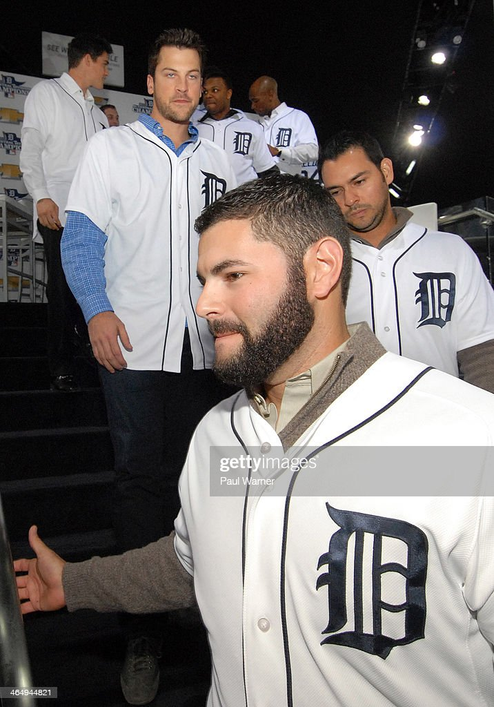 Detroit Tigers Austin Jackson,Rajai Davis, Kyle Lobstein, Evan Reed, Anibal Sanchez and Alex Avila leave a question and answer session at the Detroit Tigers winter caravan tour stop at the North American International Auto Show at Cobo Hall on January 24, 2014 in Detroit, Michigan.