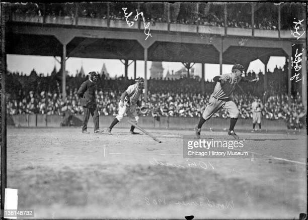 Detroit Tigers baseball player Ty Cobb running from home plate towards first base at West Side Grounds during a World Series game Chicago Illinois...