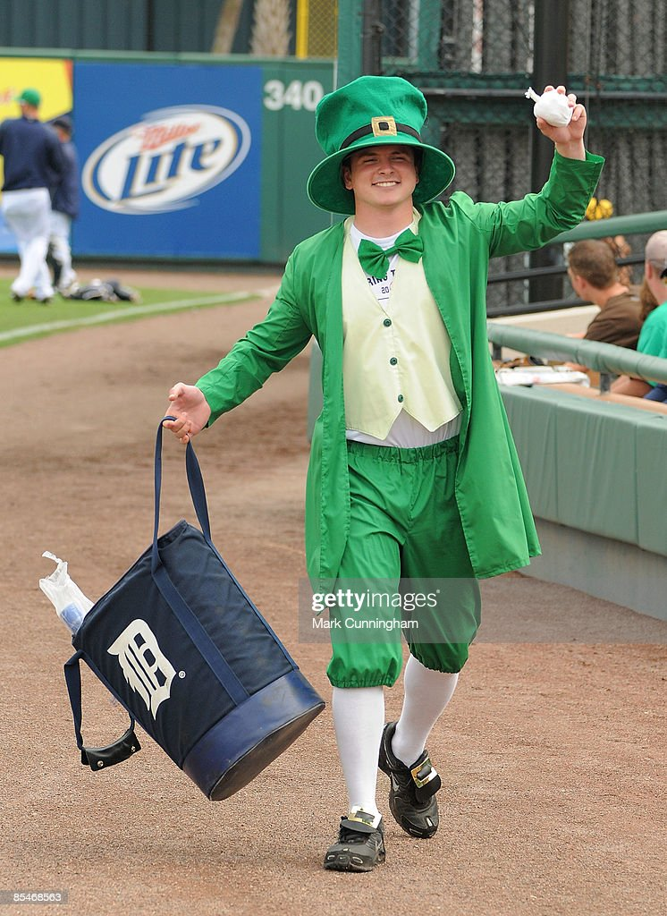 Detroit Tigers bat boy Kyle Dauer shows his Irish spirit before the start of the spring training game between the Detroit Tigers and the Houston...