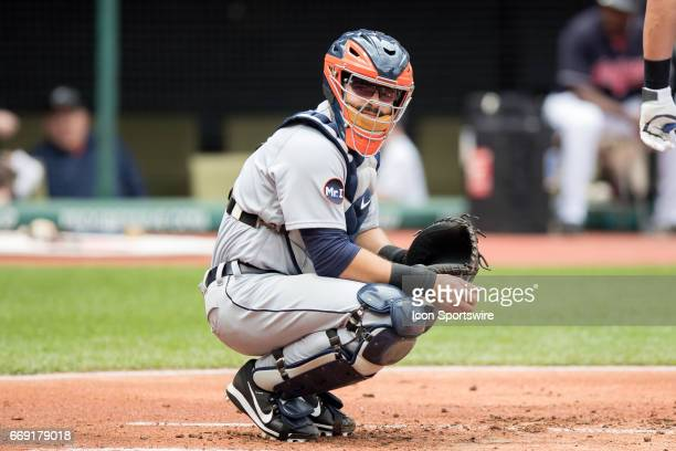 Detroit Tigers Catcher Alex Avila looks to the dugout for a sign during the first inning of the Major League Baseball game between the Detroit Tigers...