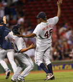 Detroit Tigers catcher Gerald Laird and Detroit Tigers relief pitcher Jose Valverde celebrate the win over the Boston Red Sox at Fenway Park