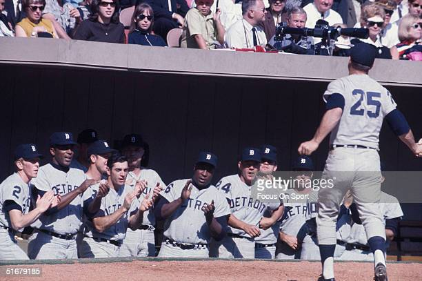 Detroit Tigers cheer for Norm Cash during the game against the St Louis Cardinals during the 1968 World Series at Busch Stadium in St Louis Missouri