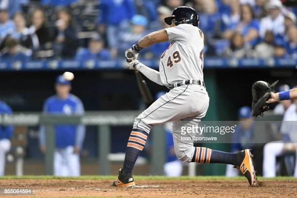 Detroit Tigers designated hitter Dixon Machado at bat during a Major League baseball game between the Detroit Tigers and the Kansas City Royals on...