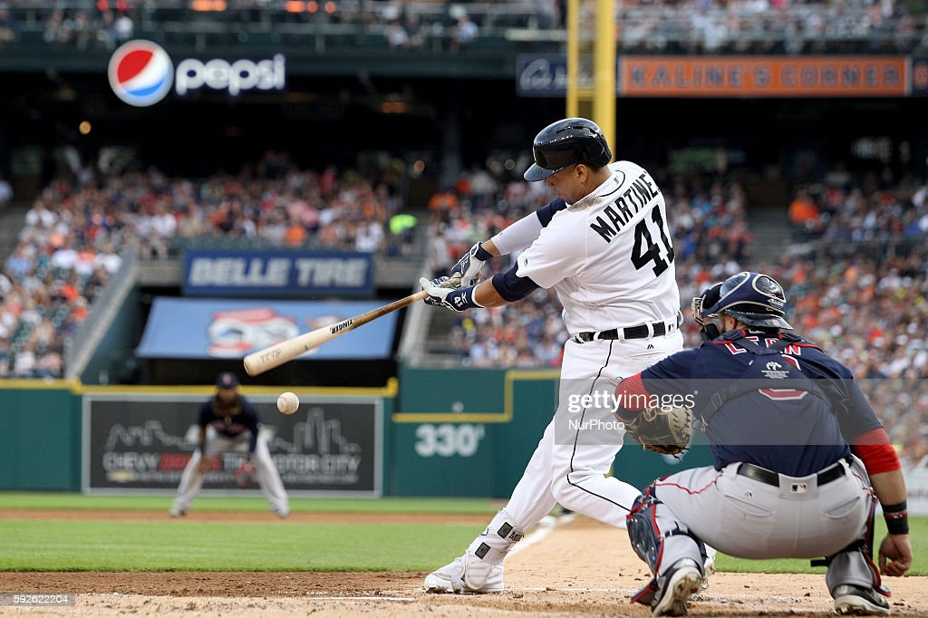 Detroit Tigers designated hitter Victor Martinez at bat during the second inning of a baseball game against the Boston Red Sox in Detroit Michigan...