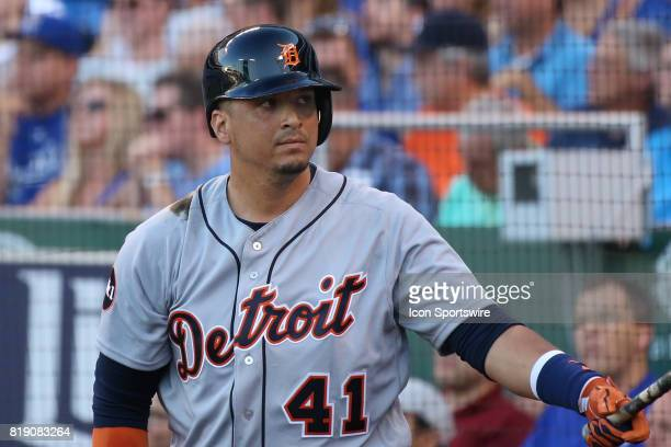 Detroit Tigers designated hitter Victor Martinez in the ondeck circle in the first inning of an AL Central game between the Detroit Tigers and Kansas...