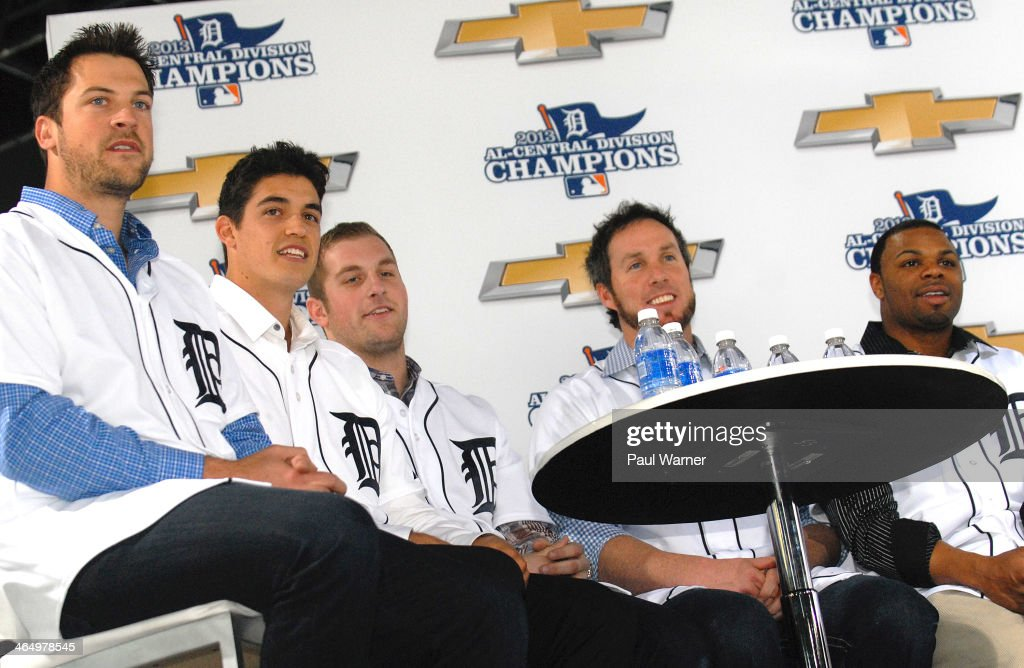 Detroit Tigers Evan Reed, Kyle Lobstein, <a gi-track='captionPersonalityLinkClicked' href=/galleries/search?phrase=Ian+Krol&family=editorial&specificpeople=10976764 ng-click='$event.stopPropagation()'>Ian Krol</a>, <a gi-track='captionPersonalityLinkClicked' href=/galleries/search?phrase=Joe+Nathan&family=editorial&specificpeople=215405 ng-click='$event.stopPropagation()'>Joe Nathan</a> and <a gi-track='captionPersonalityLinkClicked' href=/galleries/search?phrase=Rajai+Davis&family=editorial&specificpeople=810608 ng-click='$event.stopPropagation()'>Rajai Davis</a> attend the Detroit Tigers winter caravan tour stop on Family Day at the North American International Auto Show at Cobo Hall on January 24, 2014 in Detroit, Michigan.