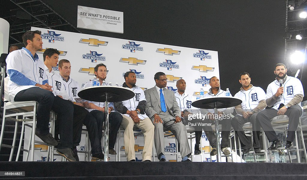 Detroit Tigers Evan Reed, Kyle Lobstein, Ian Krol, Joe Nathan, Rajai Davis, broadcaster Rod Allen, Austin Jackson, Daniel Fields, Anibal Sanchez and Alex Avila attend a question and answer session at the Detroit Tigers winter caravan tour stop at the North American International Auto Show at Cobo Hall on January 24, 2014 in Detroit, Michigan.