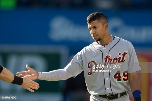 Detroit Tigers Infielder Dixon Machado during the change of innings in the regular season MLB game between the Detroit Tigers and the Toronto Blue...