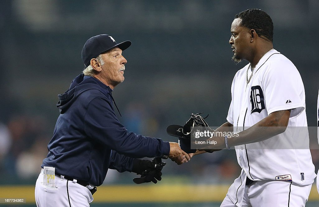 Detroit Tigers manager <a gi-track='captionPersonalityLinkClicked' href=/galleries/search?phrase=Jim+Leyland&family=editorial&specificpeople=239038 ng-click='$event.stopPropagation()'>Jim Leyland</a> #10 celebrates a win over the Atlanta Braves with Jose Valverde #46 at Comerica Park on April 28, 2013 in Detroit, Michigan. The Tigers defeated the Braves 8-3.