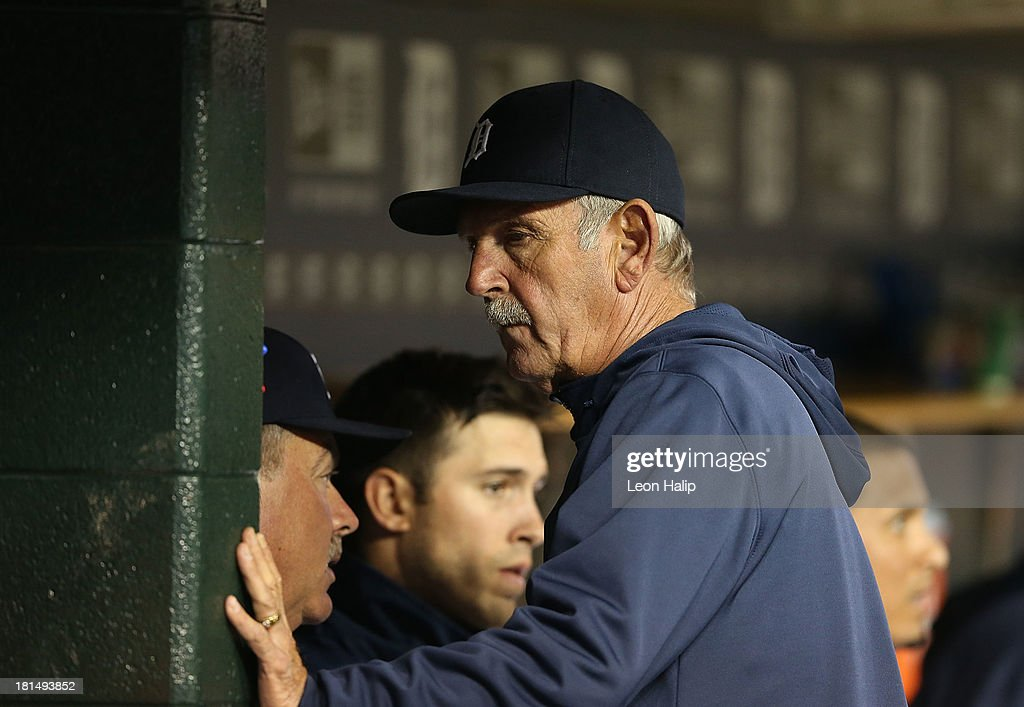 Detroit Tigers manager Jim Leyland #10 checks the line up during the game against the Chicago White Sox at Comerica Park on September 21, 2013 in Detroit, Michigan.