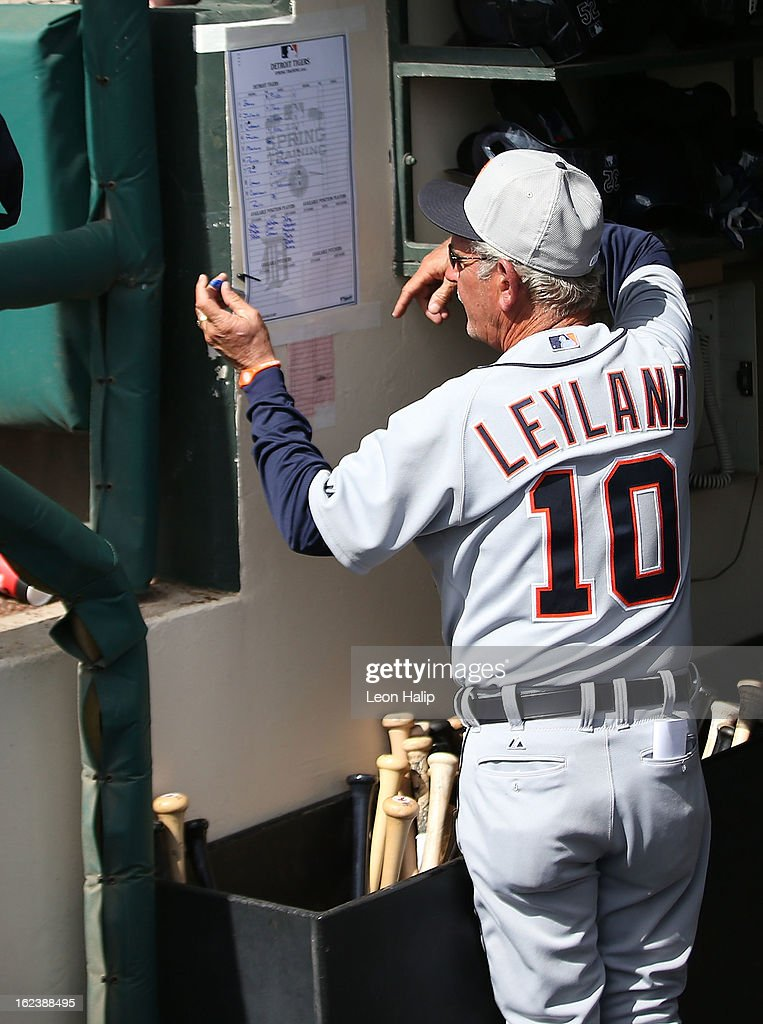 Detroit Tigers manager <a gi-track='captionPersonalityLinkClicked' href=/galleries/search?phrase=Jim+Leyland&family=editorial&specificpeople=239038 ng-click='$event.stopPropagation()'>Jim Leyland</a> #10 checks the lineup card during the game against the Atlanta Braves on February 22, 2013 in Lake Buena Vista, Florida. The Tigers defeated the Braves 2-1.