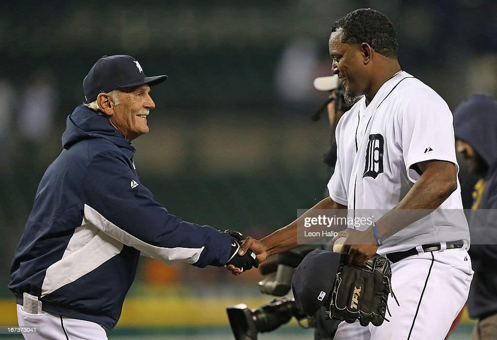 Detroit Tigers manager <a gi-track='captionPersonalityLinkClicked' href=/galleries/search?phrase=Jim+Leyland&family=editorial&specificpeople=239038 ng-click='$event.stopPropagation()'>Jim Leyland</a> #10 congratulates <a gi-track='captionPersonalityLinkClicked' href=/galleries/search?phrase=Jose+Valverde&family=editorial&specificpeople=689773 ng-click='$event.stopPropagation()'>Jose Valverde</a> #46 after the Tigers defeated the Royals at Comerica Park on April 24, 2013 in Detroit, Michigan. The Tigers defeated the Royal 7-5.