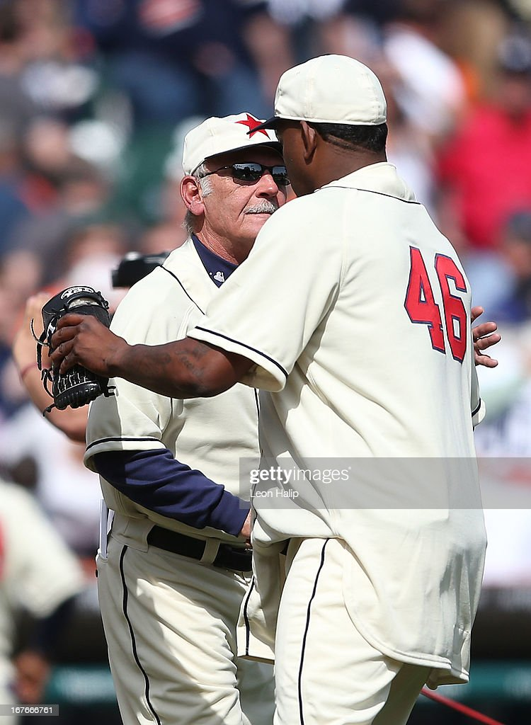 Detroit Tigers manager <a gi-track='captionPersonalityLinkClicked' href=/galleries/search?phrase=Jim+Leyland&family=editorial&specificpeople=239038 ng-click='$event.stopPropagation()'>Jim Leyland</a> #10 congratulates Jose Valverde #46 after the Tigers defeated the Atlanta Braves at Comerica Park on April 27, 2013 in Detroit, Michigan. The Tigers defeated the Braves 7-4.