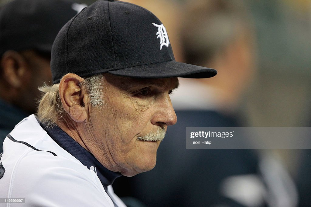 Detroit Tigers manager <a gi-track='captionPersonalityLinkClicked' href=/galleries/search?phrase=Jim+Leyland&family=editorial&specificpeople=239038 ng-click='$event.stopPropagation()'>Jim Leyland</a> #10 of the Detroit Tigers watches the action during the game against the New York Yankees at Comerica Park on June 1, 2012 in Detroit, Michigan. The Yankees defeated the Tiger 9-4.