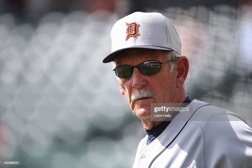 Detroit Tigers manager <a gi-track='captionPersonalityLinkClicked' href=/galleries/search?phrase=Jim+Leyland&family=editorial&specificpeople=239038 ng-click='$event.stopPropagation()'>Jim Leyland</a> #10 watches the action during the game against the Atlanta Braves on February 22, 2013 in Lake Buena Vista, Florida. The Tigers defeated the Braves 2-1.