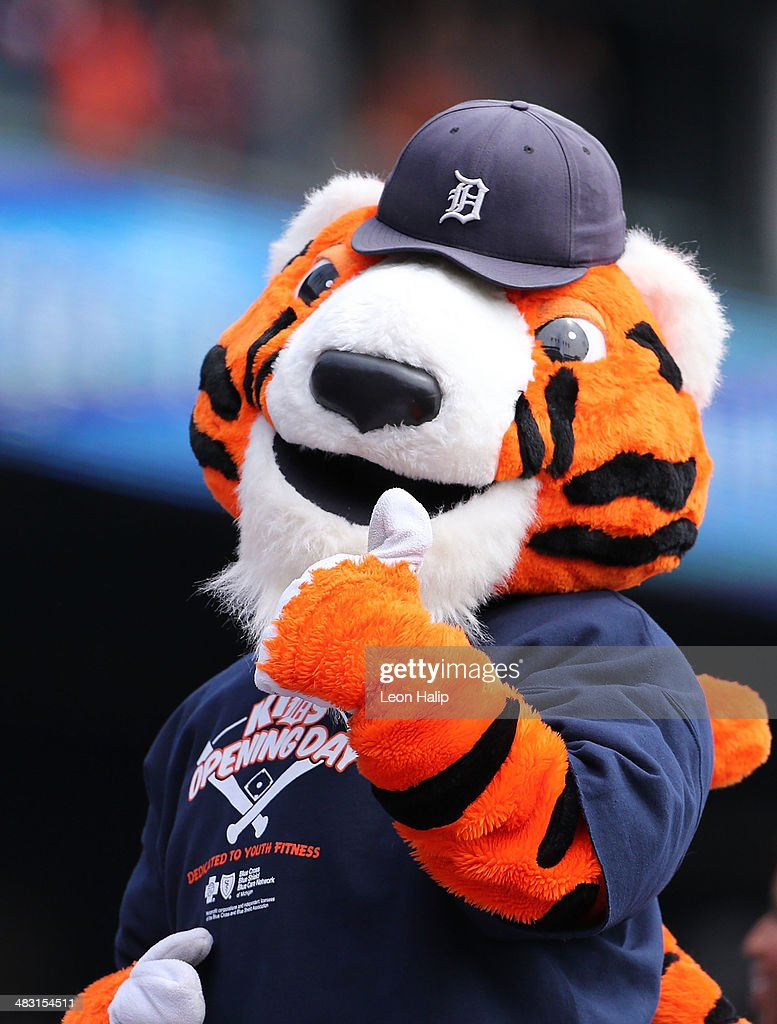 Detroit Tigers mascot 'PAWS' entertains the fans during the game against the Baltimore Orioles at Comerica Park on April 6, 2014 in Detroit, Michigan. The Orioles defeated the Tigers 3-1.