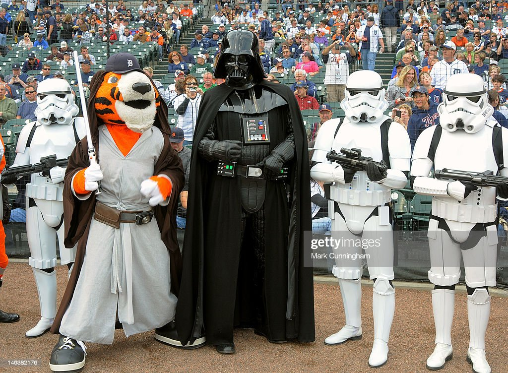 Detroit Tigers mascot Paws poses for a photo with Darth Vader and Stormtroopers during Star Wars Night before the game between the Detroit Tigers and the New York Yankees at Comerica Park on June 2, 2012 in Detroit, Michigan. The Tigers defeated the Yankees 4-3.