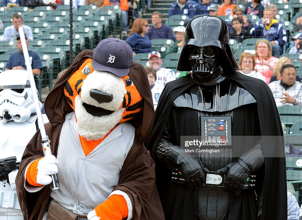 Detroit Tigers mascot Paws poses for a photo with Darth Vader during Star Wars Night before the game between the Detroit Tigers and the New York Yankees at Comerica Park on June 2, 2012 in Detroit, Michigan. The Tigers defeated the Yankees 4-3.