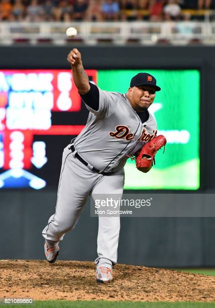 Detroit Tigers Pitcher Bruce Rondon delivers a pitch during a MLB game between the Minnesota Twins and Detroit Tigers on July 22 2017 at Target Field...