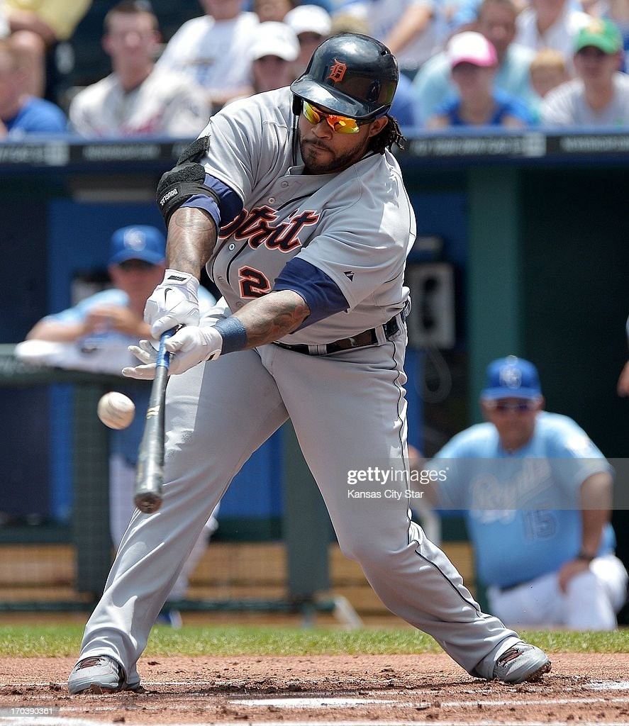 Detroit Tigers' Prince Fielder (28) slaps a single to score Avisail Garcia from third in the first inning during Wednesday's baseball game against the Kansas City Royals on June 12, 2013, at Kauffman Stadium in Kansas City, Missouri.