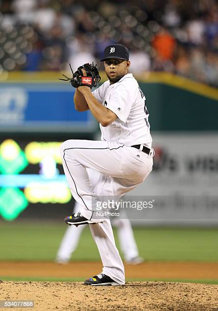 Detroit Tigers relief pitcher Francisco Rodriguez delivers a pitch during the ninth inning against the Philadelphia Phillies in Detroit Michigan USA...