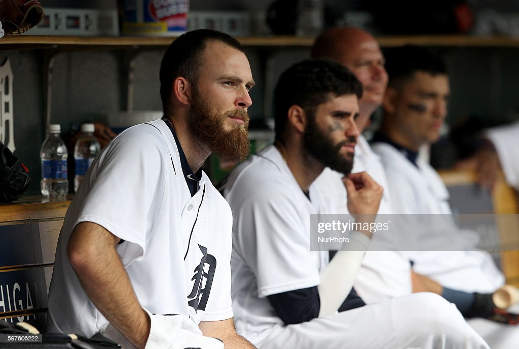 Detroit Tigers relief pitcher Kyle Ryan left watches the bottom of the ninth inning of a baseball game against the Los Angeles Angels in Detroit...