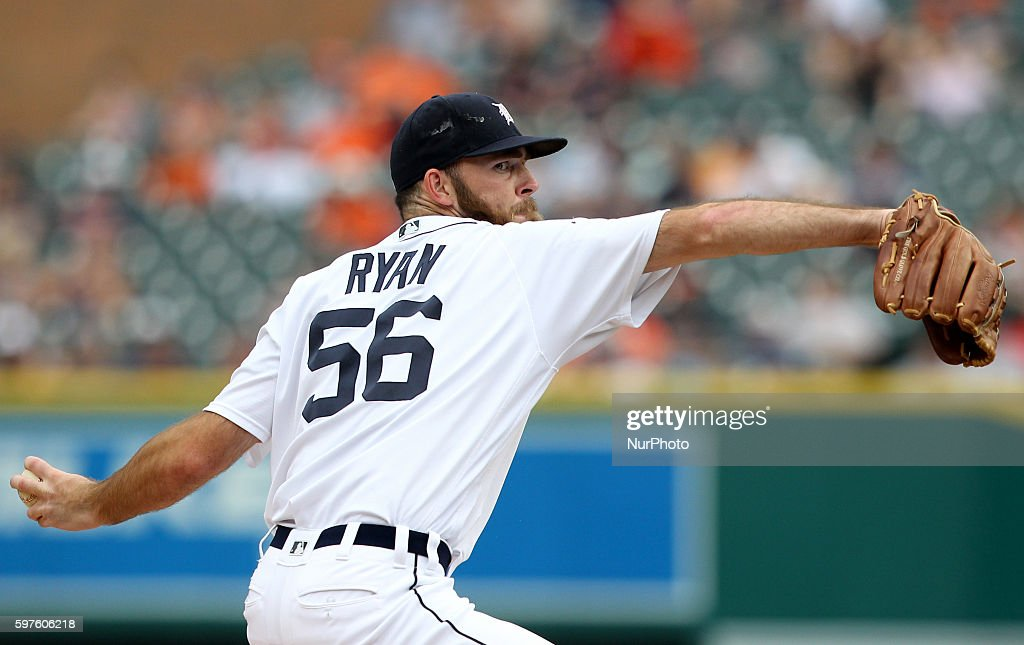 Detroit Tigers relief pitcher Kyle Ryan pitches the ninth inning of a baseball game against the Los Angeles Angels in Detroit Michigan USA on Sunday...