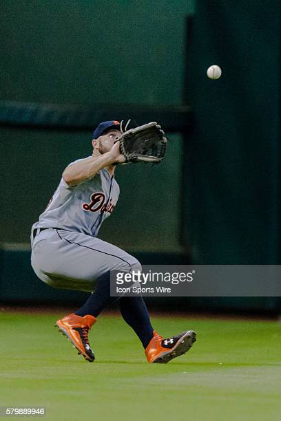 Detroit Tigers right fielder Tyler Collins making the catch for the out against the Houston Astros during the baseball game Detroit Tigers defeated...