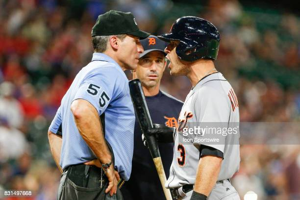 Detroit Tigers Second base Ian Kinsler argues with Umpire Angel Hernandez after being thrown out of the MLB game between the Detroit Tigers and Texas...