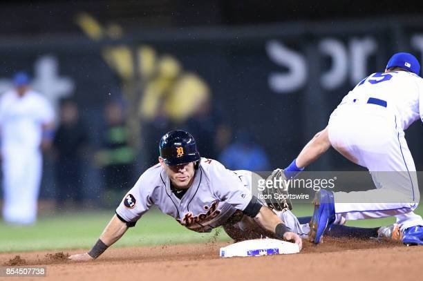 Detroit Tigers second baseman Ian Kinsler is out stealing during a Major League baseball game between the Detroit Tigers and the Kansas City Royals...