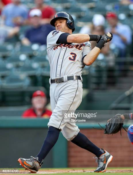 Detroit Tigers second baseman Ian Kinsler takes a big swing during the MLB game between the Detroit Tigers and Texas Rangers on August 15 2017 at...